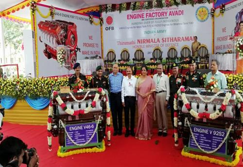 Defence Minister Nirmala Sitharaman handed over two categories of indigenised multi-fuel engines for powering main battle tanks to the Vice Chief of Army Staff on Saturday 28th ,July 2018