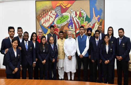The Prime Minister, Shri Narendra Modi with the Table Tennis Medal winners of Commonwealth Games, 2018, in New Delhi on July 30, 2018.