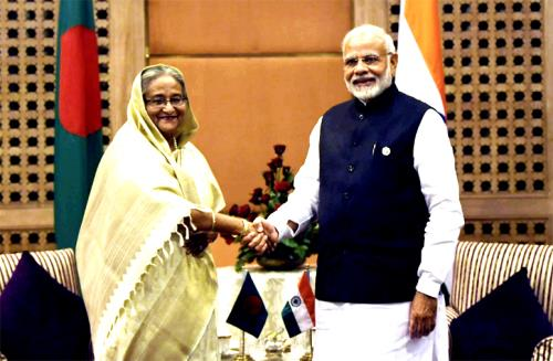 The Prime Minister, Shri Narendra Modi meeting the Prime Minister of Bangladesh, Ms. Sheikh Hasina, on the sidelines of the 4th BIMSTEC Summit, in Kathmandu, Nepal on August 30, 2018.