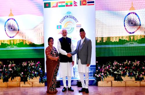 The Prime Minister, Shri Narendra Modi being received by the Prime Minister of Nepal, Shri K.P. Sharma Oli, at the inaugural session of the 4th BIMSTEC Summit, in Kathmandu, Nepal on August 30, 2018.